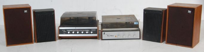 TWO VINTAGE RETRO 20TH CENTURY TEAK WOOD CASE RECORD PLAYERS AND TWO PAIRS OF SPEAKERS