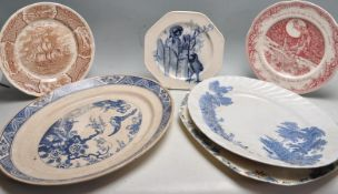 ANTIQUE AND 20TH CENTURY ENGLISH PORCELAIN PLATES AND PLATTERS