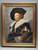 THE LAUGHING CAVALIER AFTER FRANS HALS OIL ON CANVAS PAINTING