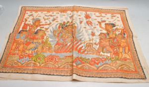 EARLY 20TH CENTURY INDIAN HAND PAINTED WALL HANGING CLOTH