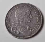 1677 CHARLES II SILVER CROWN COIN