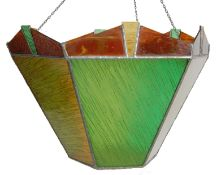 1930S ART DECO STAINED GLASS PENDANT LIGHT SHADE