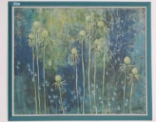 """VINTAGE RETRO 20TH CENTURY OIL ON BOARD PAINTING """" WINTER PODS"""" BY RUBY HERNDON"""