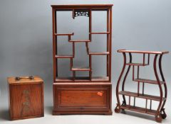 COLLECTION OF THREE CHINESE HARDWOOD PORCELAIN VITRINES