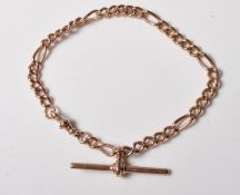 9CT GOLD FIGARO CHAIN BRACELET WITH T BAR
