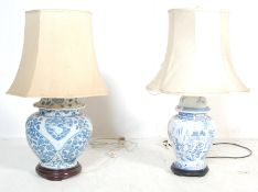 2 VINTAGE MID 20TH CENTURY CHINESE BLUE & WHITE LAMPS