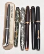 COLLECITON OF SIX VINTAGE FOUNTAIN PENS