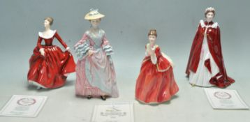 FOUR PORCELAIN FIGURINES OF LADIES BY ROYAL DOULTON AND ROYAL WORCESTER