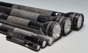 COLLECTION OF SIX ALUMINIUM MAGLITE TORCHES
