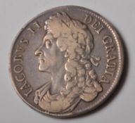 CHARLES II 1686 SILVER CROWN COIN