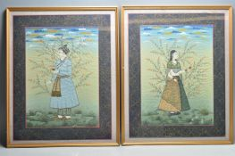 ANTIQUE EARLY 20TH CENTURY INDIAN SILK PAINTINGS