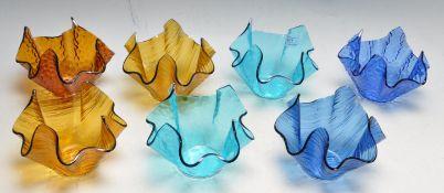SEVEN VINTAGE RETRO 20TH CENTURY CZECHOSLOVAKIAN HANDKERCHIEF STUDIO ART GLASS