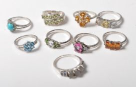 COLLECTION OF NINE SILVER LADIES RINGS