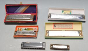SEVEN MID CENTURY AND LATER HARMONICA MUSICAL INSTRUMENTS