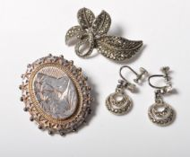 VICTORIAN 19TH CENTURY WHITE METAL BROOCH & OTHER