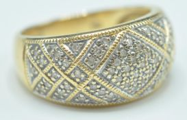 18CT GOLD AND DIAMOND DOME RING
