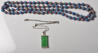 19TH CENTURY BOHEMIAN BEADED NECKLACE TOGETHER WITH A CHINESE GREEN STONE PENDANT NECKLACE