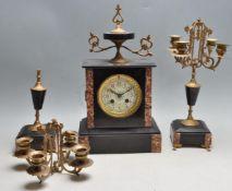 19TH CENTURY FRENCH 3 PIECE MANTEL CLOCK GARNITURE