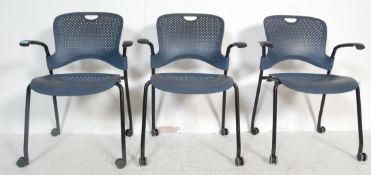 THREE VINTAGE RETRO HERMAN MILLER OFFICE CHAIRS