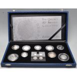 ROYAL MINT QUEEN'S 80TH BIRTHDAY SILVER PROOF COIN SET