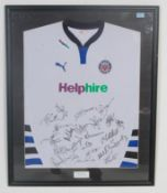 A signed and framed Bath Rugby shirt being well framed and presented bearing notation box for 1st