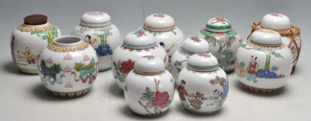 LARGE QUANTITY OF EARLY 20TH CENTURY AND LATER CHINESE ORIENTAL GINGER JARS.