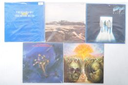 THE MOODY BLUES - GROUP OF FIVE VINYL RECORD ALBUMS