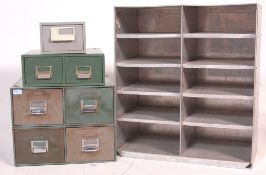 COLLECTION OF RETRO VINTAGE INDUSTRIAL FACTORY METAL FILING CABINETS