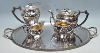 19TH CENTURY VICTORIAN SILVER PLATED TEAPOT, COFFEE POT, CREAMER JUG