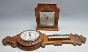 TWO 20TH CENTURY WALL HANGING BAROMETERS