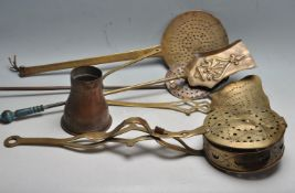 COLLECTION OF 19TH CENTURY AND LATER BRASS AND COPPER FIRE SIDE ITEMS