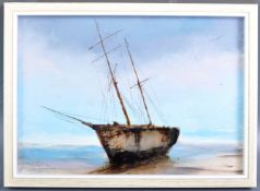 DAVID CHAMBERS - ENGLISH ARTIST - OIL ON BOARD OF A MOORED BOAT