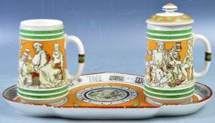 19TH CENTURY MINTON TANKARD AND TRAY SET