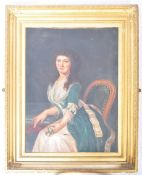 LARGE 19TH CENTURY OIL ON CANVAS PAINTING OF A LADY
