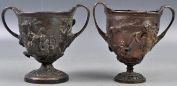 PAIR OF 19TH CENTURY ITALIAN GRAND TOUR BRONZE CHALICES