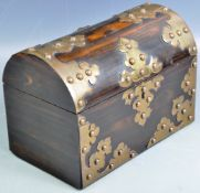 STRIKING COROMANDEL DOMED TEA CADDY WITH BRONZE MOUNTS