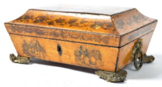 EARLY 19TH CENTURY GEORGIAN PENWORK DECORATED BOX