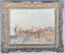 CIRCLE OF EUGENE BOUDIN 19TH CENTURY OIL ON BOARD PAINTING