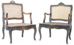 ANTIQUE PAIR OF 18TH CENTURY GEORGIAN CANE & WALNUT ELBOW CHAIRS