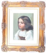 19TH CENTURY OIL ON CANVAS PAINTING DEPICTING A YOUNG GIRL