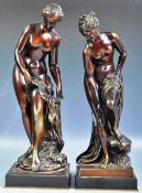 19TH PAIR OF ITALIAN BRONZED - VENUS APHRODITE BATHING