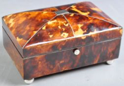19TH CENTURY BLONDE TORTOISESHELL WORK / SEWING BOX