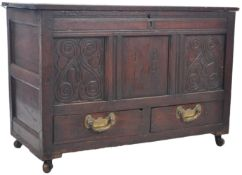 18TH CENTURY ENGLISH COUNTRY OAK MULE CHEST / COFFER