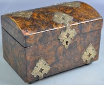19TH CENTURY ENGLISH PAPIER MACHE BURR EFFECT TEA CADDY