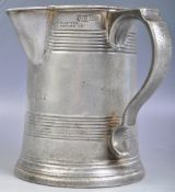 ANTIQUE 19TH LOFTUS PEWTER QUART SIDE HANDLED SPOTTED TANKARD