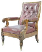 WILLIAM IV ENGLISH CARVED OAK AND LEATHER UPHOLSTERED LIBRARY CHAIR