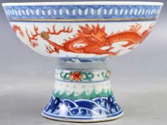 19TH CENTURY PORCELAIN DRAGON TAZZA