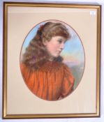 WILLIAM DRUMMOND YOUNG SCOTTISH PASTEL PAINTING OF A YOUNG WOMAN