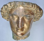 UNDOCUMENTED 19TH CENTURY GILT BRONZE HEAD OF MINERVA