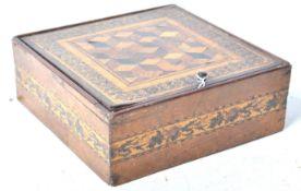 19TH CENTURY ENGLISH ANTIQUE MICRO MOSAIC TUNBRIDGE WARE INLAID BOX